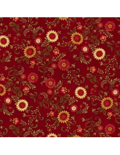 Red Sunflower Vines cotton fabric