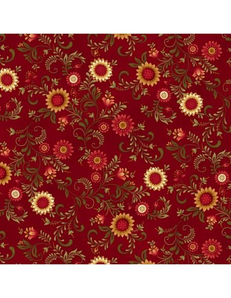 Tkanina bawełniana Red Sunflower Vines