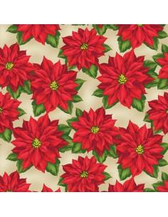 Tan Poinsettia cotton fabric