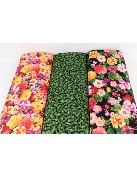 Tkanina bawełniana Black Wild Garden Floral