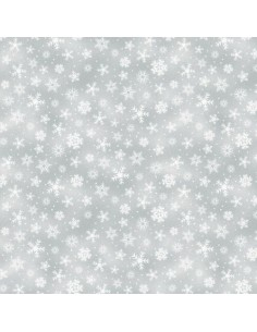 Cotton fabric Grey Snowflakes