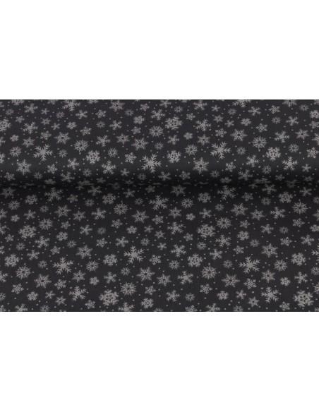 Tkanina bawełniana Dark Grey Snowflakes