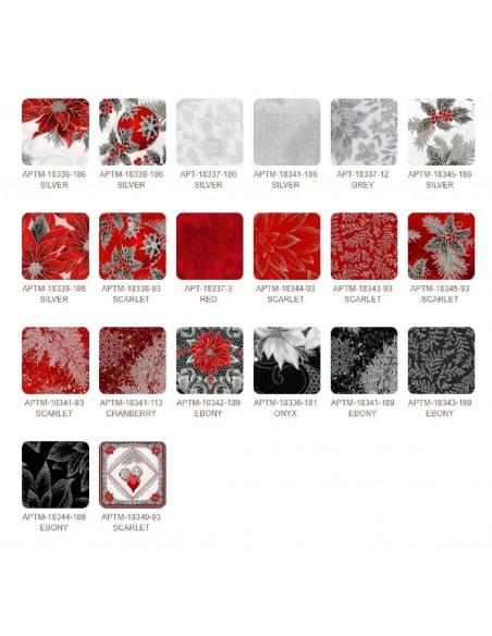 Zestaw 19 FQ + 1 panel Holiday Flourish 12 Scarlet