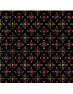 Black Foulard Hexes cotton...