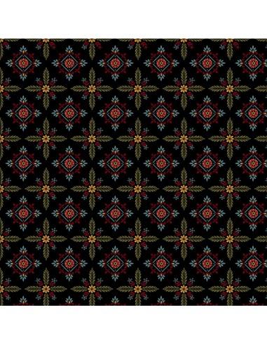 Black Foulard Hexes cotton fabric