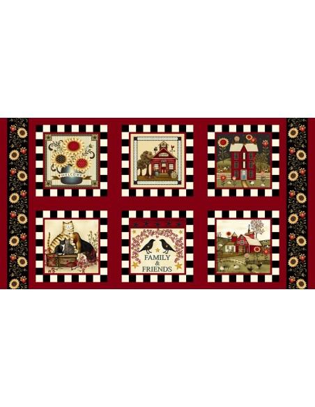Panel bawełniany Red Novelty Blocks