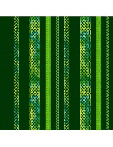 Tkanina bawełniana Emerald Celtic Border Stripe