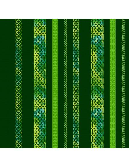 Emerald Celtic Border Stripe cotton fabric