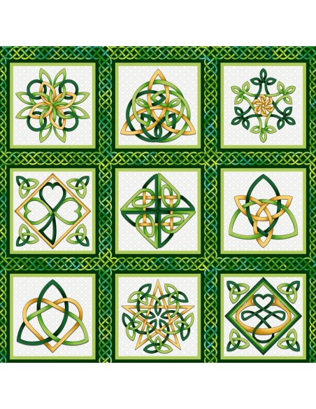 Panel bawełniany Emerald Celtic Knot Blocks