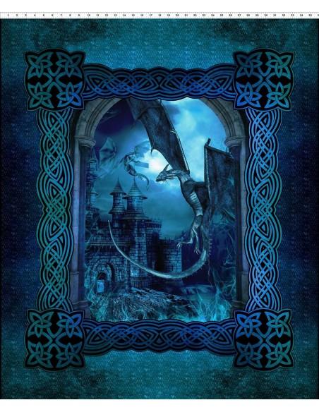 Panel bawełniany Dragons Blue Fury