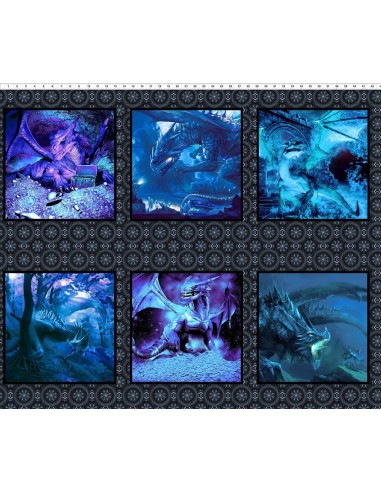 Panel bawełniany Dragons Blue Fury II