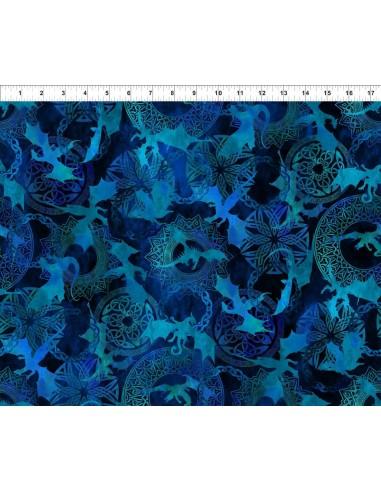 Tkanina bawełniana Dragons Blue Fury Silhouettes