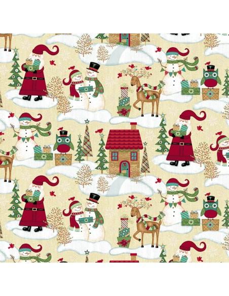 Tkanina bawełniana Ecru Christmas Scenic