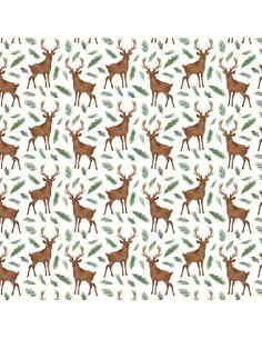 White Oh Deer cotton fabric