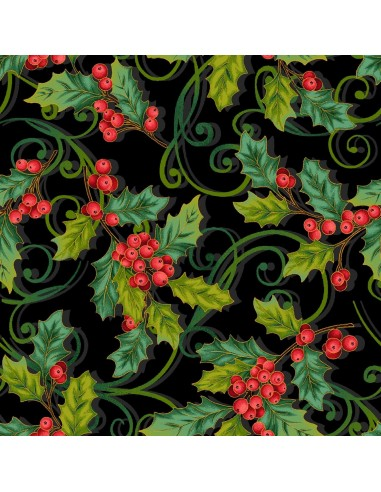 Tkanina bawełniana Black Christmas Holly Allover Metallic