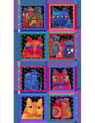 Panel bawełniany Multi Feline Frolic Blocks Metallic