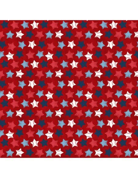 Tkanina bawełniana Red Stars Allover