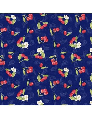 Tkanina bawełniana Blue Tossed Cherries