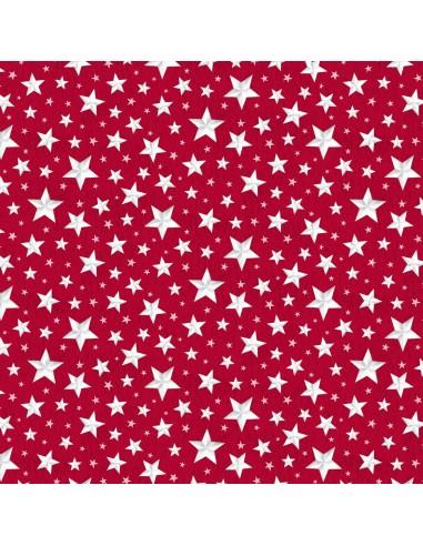 Tkanina bawełniana Red Allover Stars