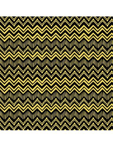 Tkanina bawełniana Black Yellow Zig...