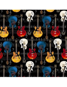 Black Guitars on Music Notes Timeless Treasures cotton fabric