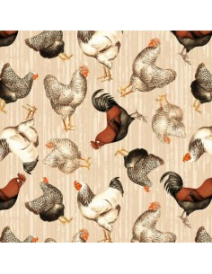 Tan Tossed Chickens Whistler Studios cotton fabric