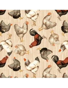 Tkanina bawełniana Tan Tossed Chickens