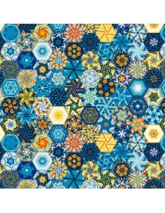 Multi Hexies cotton fabric