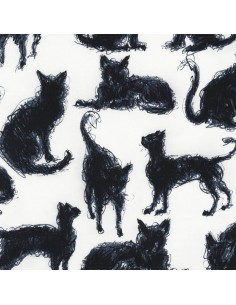Milk Scribble Cats cotton...