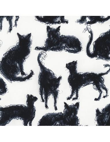 Tkanina bawełniana Milk Scribble Cats