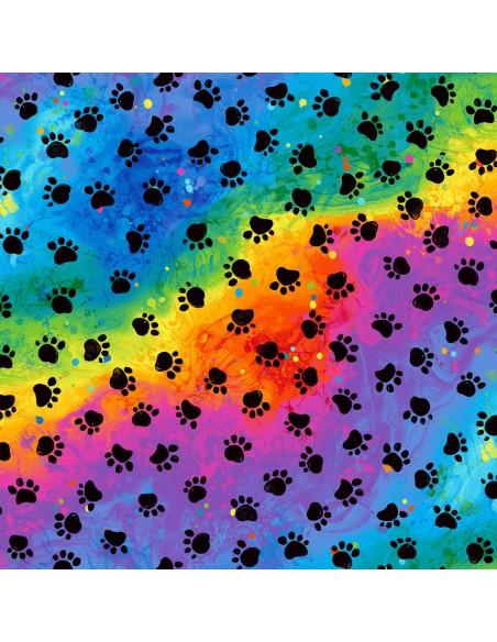 Tkanina bawełniana Rainbow Cat Paws