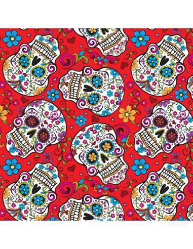 Tkanina bawełniana Red Folkloric Skulls