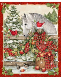 Christmas Horse Bow cotton fabric panel