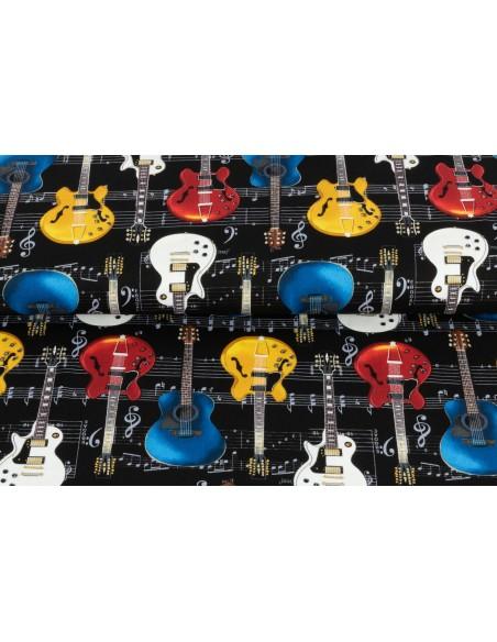 Tkanina bawełniana Black Guitars on Music Notes