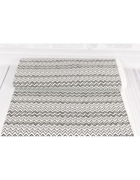 Tkanina bawełniana Black White Zig Zag Stripe
