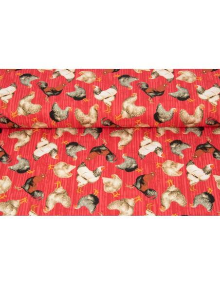 Tkanina bawełniana Red Tossed Chickens