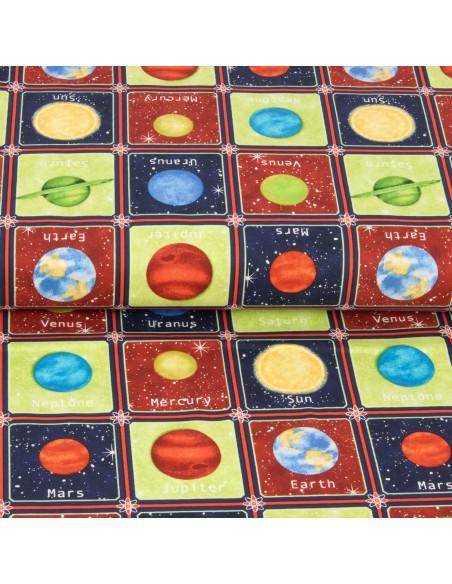 Tkanina bawełniana Multi Planets in Small Boxes