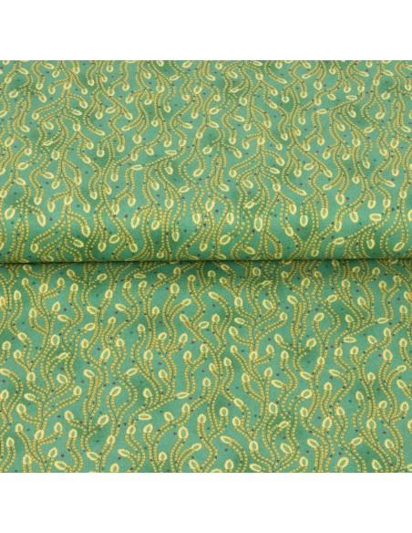 Tkanina bawełniana Turquoise Triangle Star Vines