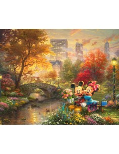 Mickey & Minnie Central Park cotton fabric panel