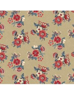 Tan Blue Bouquet cotton fabric