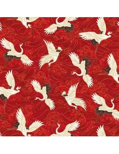 Red Cranes Metallic cotton...