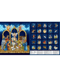 Panel bawełniany Midnight Advent Calendar Metallic
