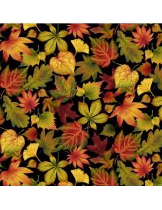 Black Tossed Leaves cotton...
