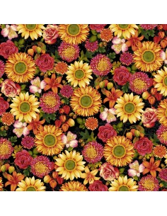 Black Autumn Floral cotton fabric