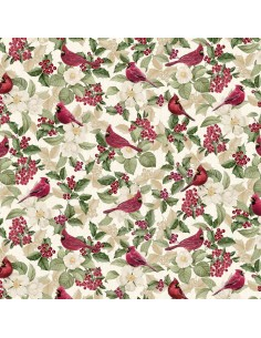 Cream Cardinals Metallic cotton fabric