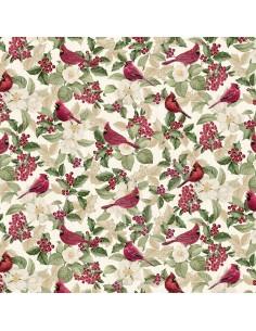 Cream Cardinals Metallic cotton fabric