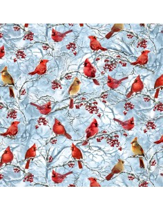 Blue Cardinals & Berries on Snow Branches cotton fabric