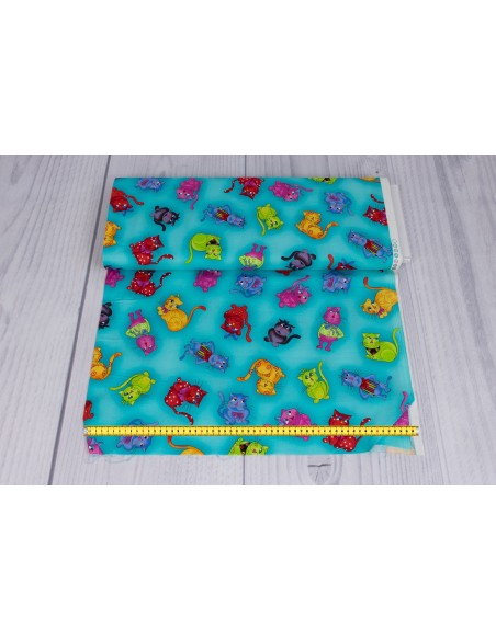 Cool Cats Turquoise Loralie Designs cotton fabric