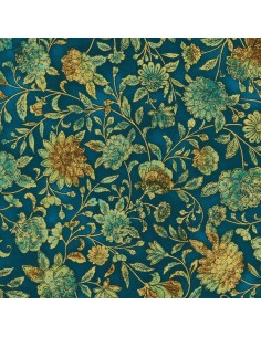 Teal Floral Metallic cotton fabric