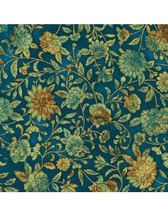 Tkanina bawełniana Teal Floral Metallic